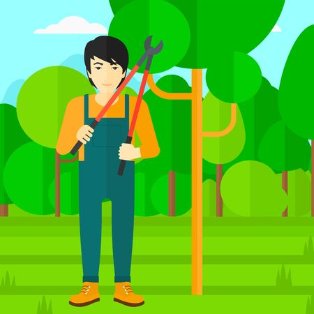 An asian man holding a pruner on a background of garden with trees vector flat design illustration. Square layout. Illustration