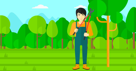 tree trimming: An asian man holding a pruner on a background of garden with trees vector flat design illustration. Horizontal layout. Illustration