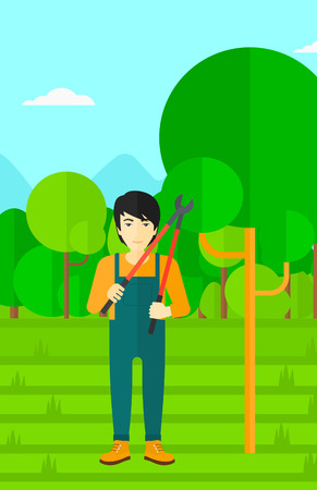vertical garden: An asian man holding a pruner on a background of garden with trees vector flat design illustration. Vertical layout.