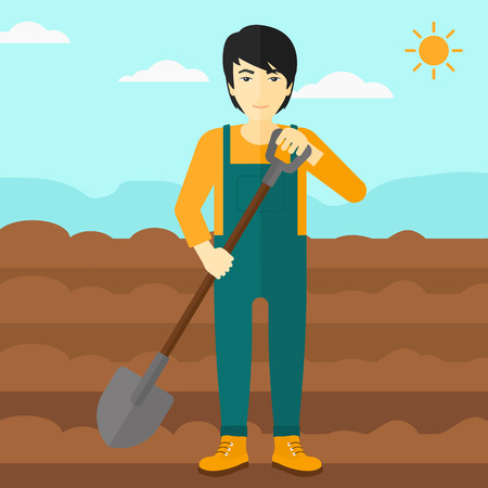 digging: An asian man with shovel on a background of plowed agricultural field vector flat design illustration. Square layout.