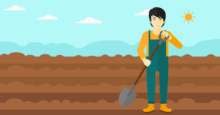 plowed: An asian man with shovel on a background of plowed agricultural field vector flat design illustration. Horizontal layout.