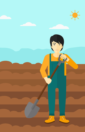 digger: An asian man with shovel on a background of plowed agricultural field vector flat design illustration. Vertical layout. Illustration