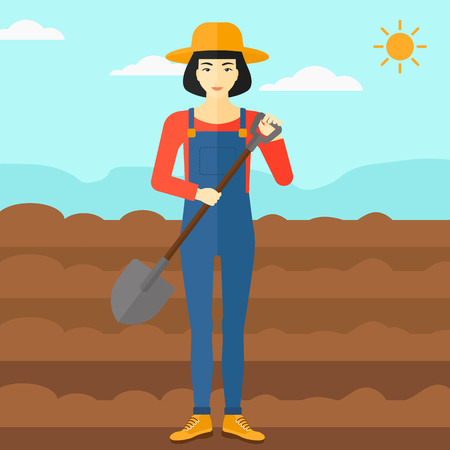 plowed: An asian woman with shovel on a background of plowed agricultural field vector flat design illustration. Square layout. Illustration