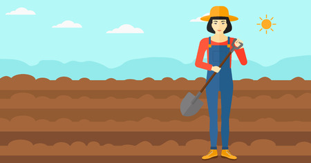 plowed: An asian woman with shovel on a background of plowed agricultural field vector flat design illustration. Horizontal layout. Illustration