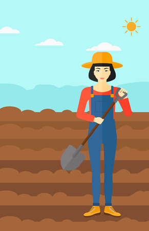 plowed: An asian woman with shovel on a background of plowed agricultural field vector flat design illustration. Vertical layout. Illustration
