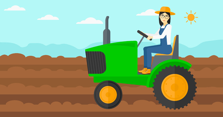 cultivator: An asian woman driving a tractor on a background of plowed agricultural field vector flat design illustration. Horizontal layout.