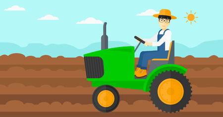 cultivator: An asian man driving a tractor on a background of plowed agricultural field vector flat design illustration. Horizontal layout. Illustration