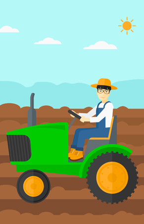 fieldwork: An asian man driving a tractor on a background of plowed agricultural field vector flat design illustration. Vertical layout.
