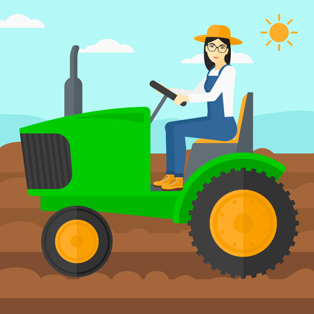 cultivator: An asian woman driving a tractor on a background of plowed agricultural field vector flat design illustration. Square layout. Illustration