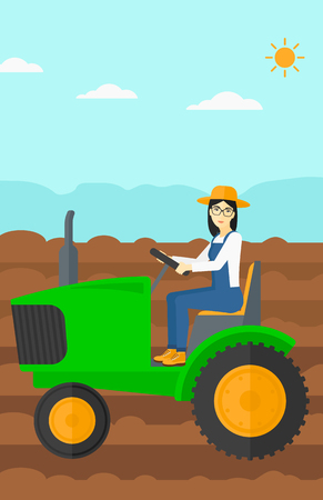 fieldwork: An asian woman driving a tractor on a background of plowed agricultural field vector flat design illustration. Vertical layout.
