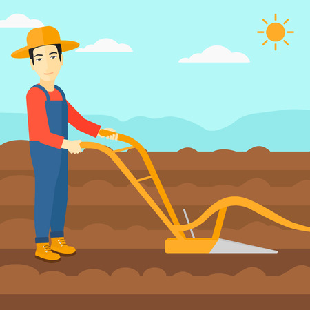 An asian man using a plough on the background of plowed agricultural field vector flat design illustration. Square layout.