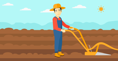 furrow: An asian man using a plough on the background of plowed agricultural field vector flat design illustration. Horizontal layout.