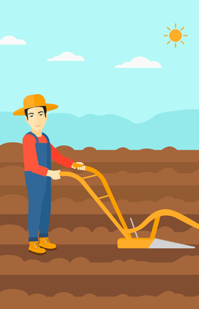 furrow: An asian  man using a plough on the background of plowed agricultural field vector flat design illustration. Vertical layout. Illustration