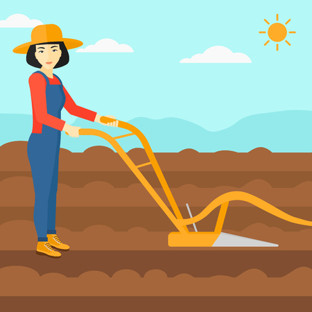 furrow: An asian woman using a plough on the background of plowed agricultural field vector flat design illustration. Square layout.