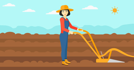 furrow: An asian woman using a plough on the background of plowed agricultural field vector flat design illustration. Horizontal layout. Illustration