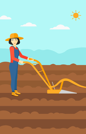 furrow: An asian woman using a plough on the background of plowed agricultural field vector flat design illustration. Vertical layout.