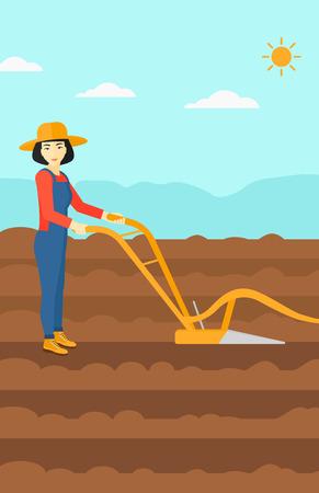 Une femme asiatique en utilisant une charrue sur le fond de vecteur champ agricole labouré design plat illustration. Présentation verticale. Banque d'images - 54046391