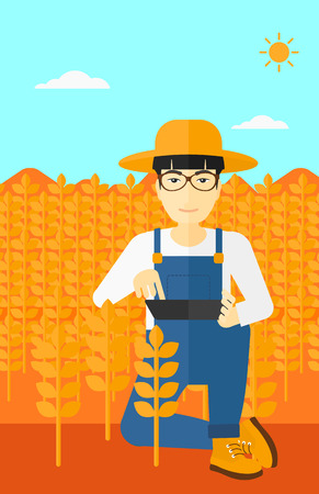An asian  man checking plants on a field and working on a digital tablet vector flat design illustration. Vertical layout. Illustration