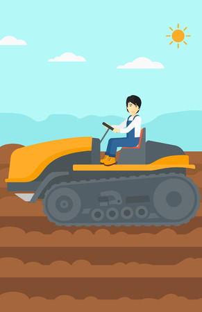 plowed: An asian man driving a tractor on a background of plowed agricultural field vector flat design illustration. Vertical layout.