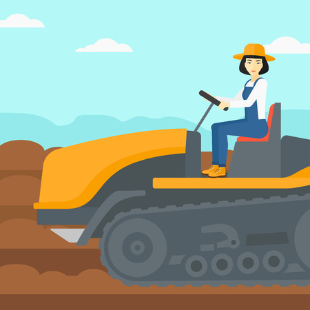 An asian woman driving a tractor on a background of plowed agricultural field vector flat design illustration. Square layout.
