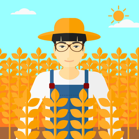labourer: An asian man standing in a wheat field vector flat design illustration. Square layout.