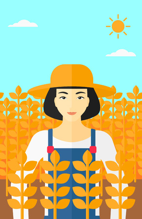 peasant woman: An asian  woman standing in a wheat field vector flat design illustration. Vertical layout.