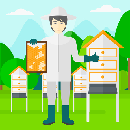 beeswax: An asian man wearing protective suit holding a framework in hand and showing thumb up on the background of apiary vector flat design illustration. Square layout.