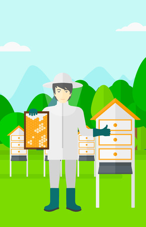 beeswax: An asian man wearing protective suit holding a framework in hand and showing thumb up on the background of apiary vector flat design illustration. Vertical layout. Illustration