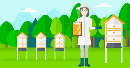 protective suit: An asian woman wearing protective suit holding a framework in hand and showing thumb up on the background of apiary vector flat design illustration. Horizontal layout.