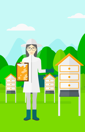 beeswax: An asian woman wearing protective suit holding a framework in hand and showing thumb up on the background of apiary vector flat design illustration. Vertical layout.