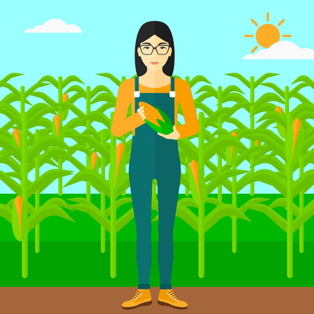 corn on the cob: An asian woman with holding a corn cob on the background of field vector flat design illustration. Square layout. Illustration