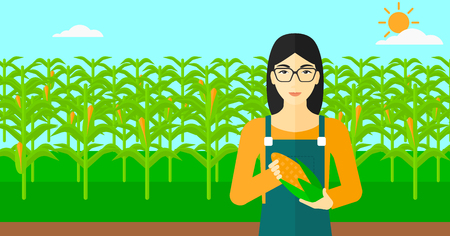 corn on the cob: An asian woman with holding a corn cob on the background of field vector flat design illustration. Horizontal layout.
