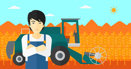 combine: An asian man standing on the background of combine harvesting wheat vector flat design illustration. Horizontal layout.