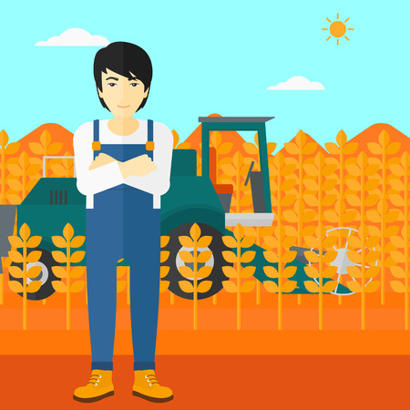 cultivator: An asian man standing on the background of combine harvesting wheat vector flat design illustration. Square layout.