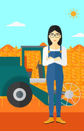 cultivator: An asian woman standing on the background of combine harvesting wheat vector flat design illustration. Vertical layout.