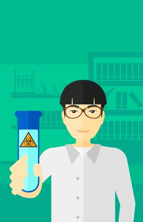 An asian laboratory assistant holding a test tube with biohazard sign on a laboratory background vector flat design illustration. Vertical layout.