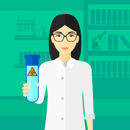 dangerous woman: An asian laboratory assistant holding a test tube with biohazard sign on a laboratory background vector flat design illustration.  Square layout. Illustration
