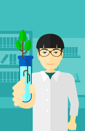 An asian laboratory assistant holding a test tube with growing plant on a laboratory background vector flat design illustration. Vertical layout.