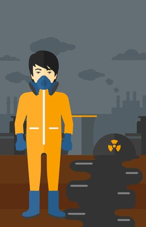 An asian man wearing a protective chemical suit for toxic atmosphere on background of nuclear power plant vector flat design illustration. Vertical layout.
