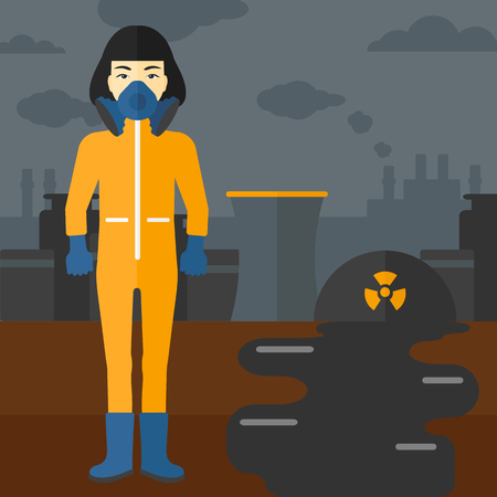 atmosphere: An asian woman wearing a protective chemical suit for toxic atmosphere on background of nuclear power plant vector flat design illustration. Square layout.