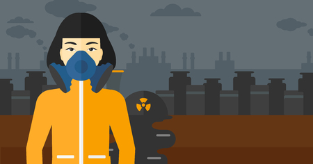 air pollution cartoon: An asian woman wearing a protective chemical suit for toxic atmosphere on background of nuclear power plant vector flat design illustration. Horizontal layout. Illustration