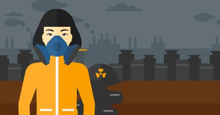 obrero caricatura: Una mujer asi�tica que llevaba un traje de protecci�n qu�mica de la atm�sfera t�xica en el fondo de la planta de energ�a nuclear de vector dise�o plano. disposici�n horizontal.