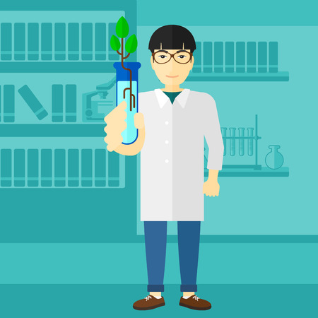 An asian laboratory assistant holding a test tube with growing plant on a laboratory background vector flat design illustration. Square layout. Illustration