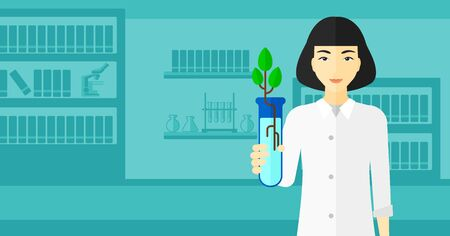 An asian laboratory assistant holding a test tube with growing plant on a laboratory background vector flat design illustration. Horizontal layout.