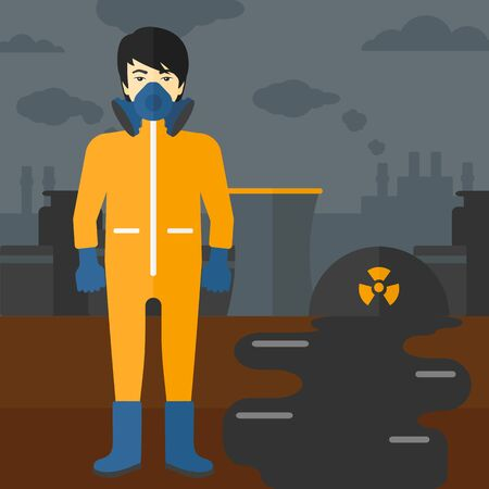 radiation suit: An asian man wearing a protective chemical suit for toxic atmosphere on background of nuclear power plant vector flat design illustration. Square layout. Illustration