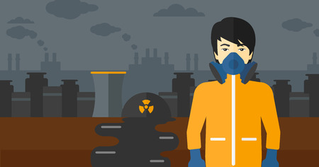 hazard: An asian man wearing a protective chemical suit for toxic atmosphere on background of nuclear power plant vector flat design illustration. Horizontal layout. Illustration