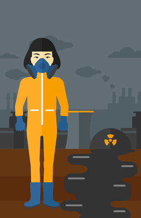 atmosphere: An asian woman wearing a protective chemical suit for toxic atmosphere on background of nuclear power plant vector flat design illustration. Vertical layout. Illustration