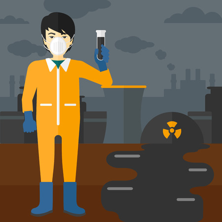 testtube: An asian laboratory assistant in protective chemical suit holding a test-tube in hand on background of nuclear power plant vector flat design illustration. Square layout. Illustration