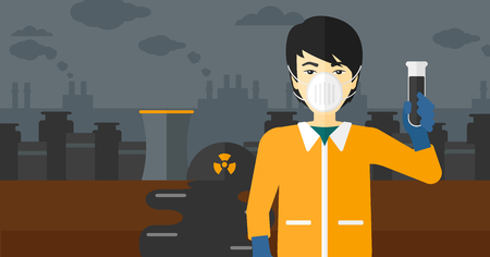 radiation suit: An asian laboratory assistant in protective chemical suit holding a test-tube in hand on background of nuclear power plant vector flat design illustration. Horizontal layout. Illustration