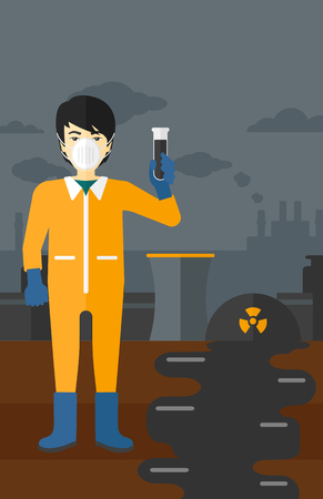 radiation suit: An asian laboratory assistant in protective chemical suit holding a test-tube in hand on background of nuclear power plant vector flat design illustration. Vertical layout.